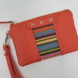 Orange wristlet wallet with embroidered colors